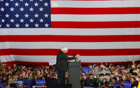 A young crowd –– Sanders speaks at a recent rally to an audience of primarily millennials. Sanders has a clear lead over his competitor Hillary Clinton in this demographic.