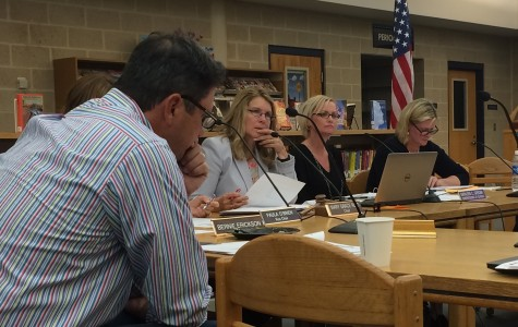 Board Chairwoman Mary Grace Reed (third from left) presides in the October Board of Education meeting. Reed's term as Chairwoman will end in January 2016.