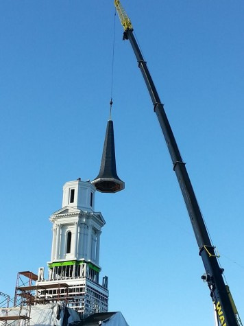 Top of the temple--Nearing completion, the angel Moroni along with other structural aspects are added to the Hartford Connecticut (Mormon) temple. The construction looks to be fully completed by Fall of 2016.