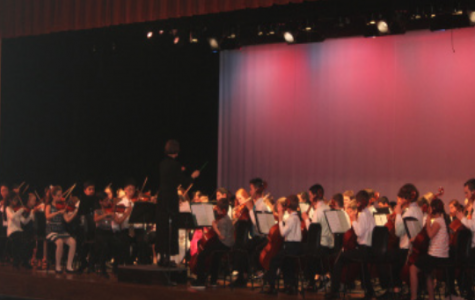 Students play strings side-by-side