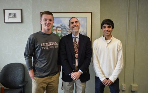 Straight A students-- Principal Bill Silva (center) congratulates salutatorian Andrew Deakin (left) and valedictorian Rahul Sindvani (right) on their academic success. Both Deakin and Sindvani will give speeches at graduation which will take place on the high school turf field on June 20.