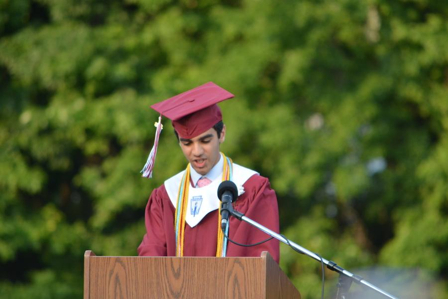 Valedictorian+Raul+Sindvani+gives+advice+to+his+fellow+graduates.