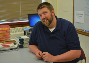 His door is always open-- Following the completion of AP exams, social studies teacher Carl Johnson continues to field questions from history students and provide help with projects and papers. Johnson is accepting a position as Assistant Principal at Plainville High School.