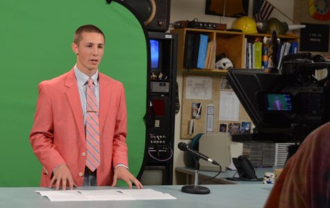 Winning the ballot-- Junior Kevin Dunst delivers his speech live on the 9:05 News for Executive President for the 2016-17 school year. Dunst took the win, attributing his win to the several meaningful relationships he has built over the past few years.