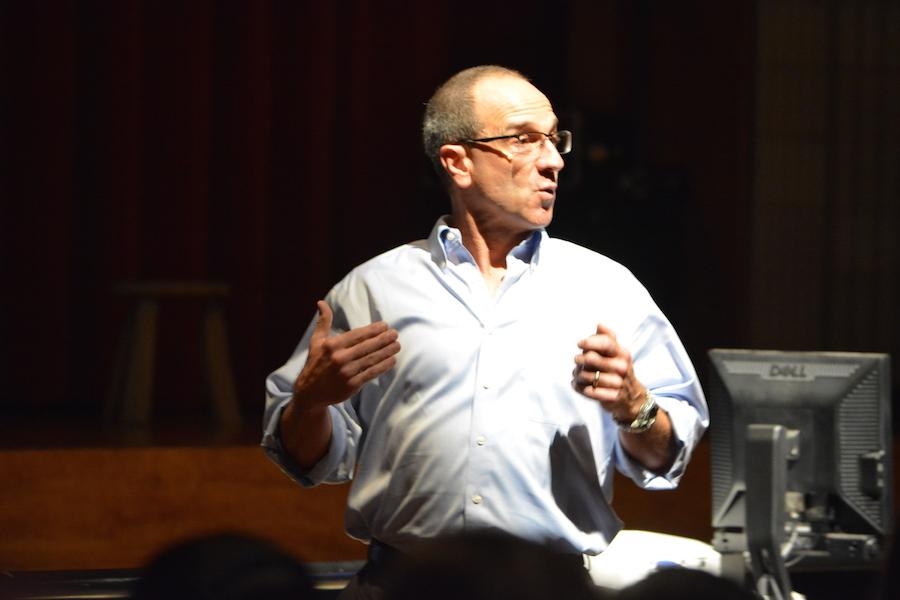 Advocating for change-- Psychology and sociology teacher Mike Baxer speaks to freshmen about the dangers of bullying. Freshmen listened to it as a part of a special programming while sophomores and juniors took the Preliminary Scholastic Aptitude Test (PSATs).