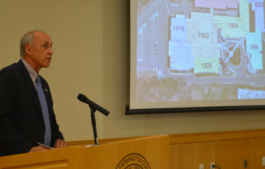 A true visionary-- Chair of the High School Renovation Committee Bill Wadsworth speaks to members of the community at the Renovation Committee Community Visioning Session on September 17. The event took place at the local community center.