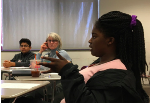 Food for thought-- Sophomore Chantelle Otu'Appiah talks about the struggles of discussing racism with others.  The members of the focus group addressed the root causes of prejudice and ignorance, as well as ways to they believe would be effective at addressing them in the school community.