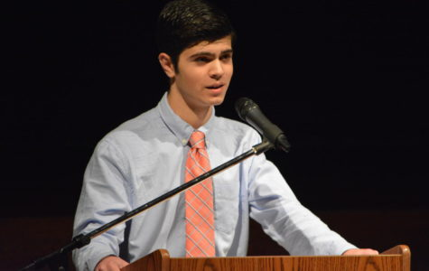 Winning the ballot-- Junior Chris DiLullo delivers his speech live in the auditorium for Class of 2018 Treasurer position for the 2017-18 school year. The class elections took place on May 26 following the Executive Council speeches on the 9:05 News.