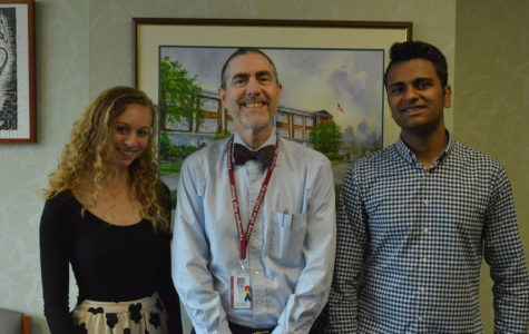 Straight A students-- Principal Bill Silva (center) congratulates Salutatorian Mia Flynn (left) and Valedictorian Jash Mirani (right) on their academic success. Both Flynn and Mirani will give speeches at graduation which will take place on the high school turf field on June 20.