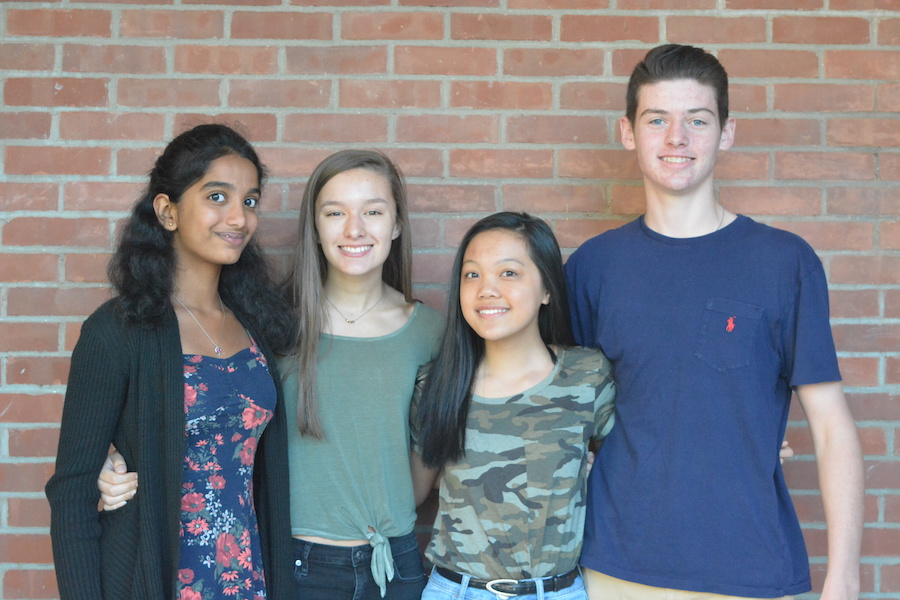 The votes are in-- (Left to right) Freshmen Secretary Saathvika Diviti, Vice President Olivia Giuffria, Treasurer Alyssa Tim and President Ricky Podgorski are elected for 2021 Student Council. The four gave speeches live on the 9:05 News on September 15 and were elected later that day. Social Studies teacher Patrick Mulcahy and English teacher MJ Martinez will serve as the Class of 2021 class advisors.