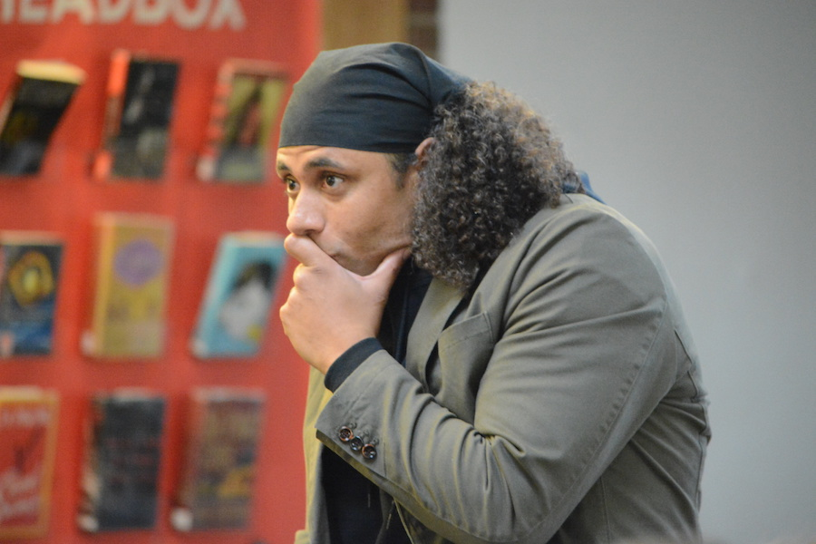 Finger snaps-- Manchester-based poet Ryan Parker spoke to students about the importance of using spoken poetry in the classroom as a means for creative expression. Parker kicked off the first annual LIT fest that began November 1 in the library and will continue through November 3.
