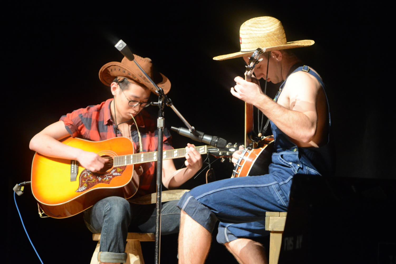 Cream of the crop-- Seniors Travis Cheung (left) and Chris Lagosz (right) start off the talent show with a medley played on the guitar and banjo. The talent show took place on March 23 in the high school auditorium.