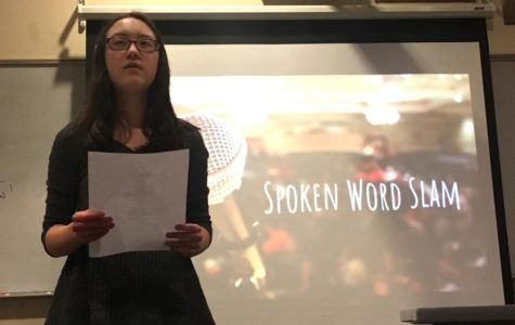 Student introduces poetry slam