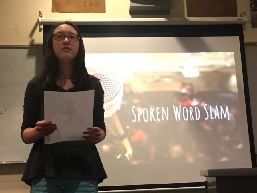 Clear+and+crisp--+Freshman+Natalie+Wong+recites+her+original+poem+about+her+own+identity.+The+poetry+slam+occurred+after+school+on+March+21+in+room+701.
