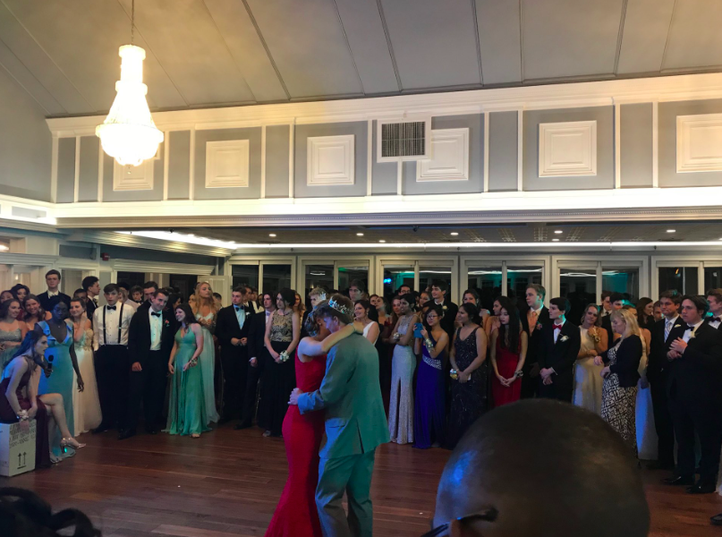 Crowned+royalty+--+Seniors+James+Galske+and+Michelle+Mordasewicz+dance+following+being+awarded+Prom+King+and+Queen.+This+was+the+first+time+the+school+hosted+a+prom+at+Glastonbury+Hills+Country+Club.