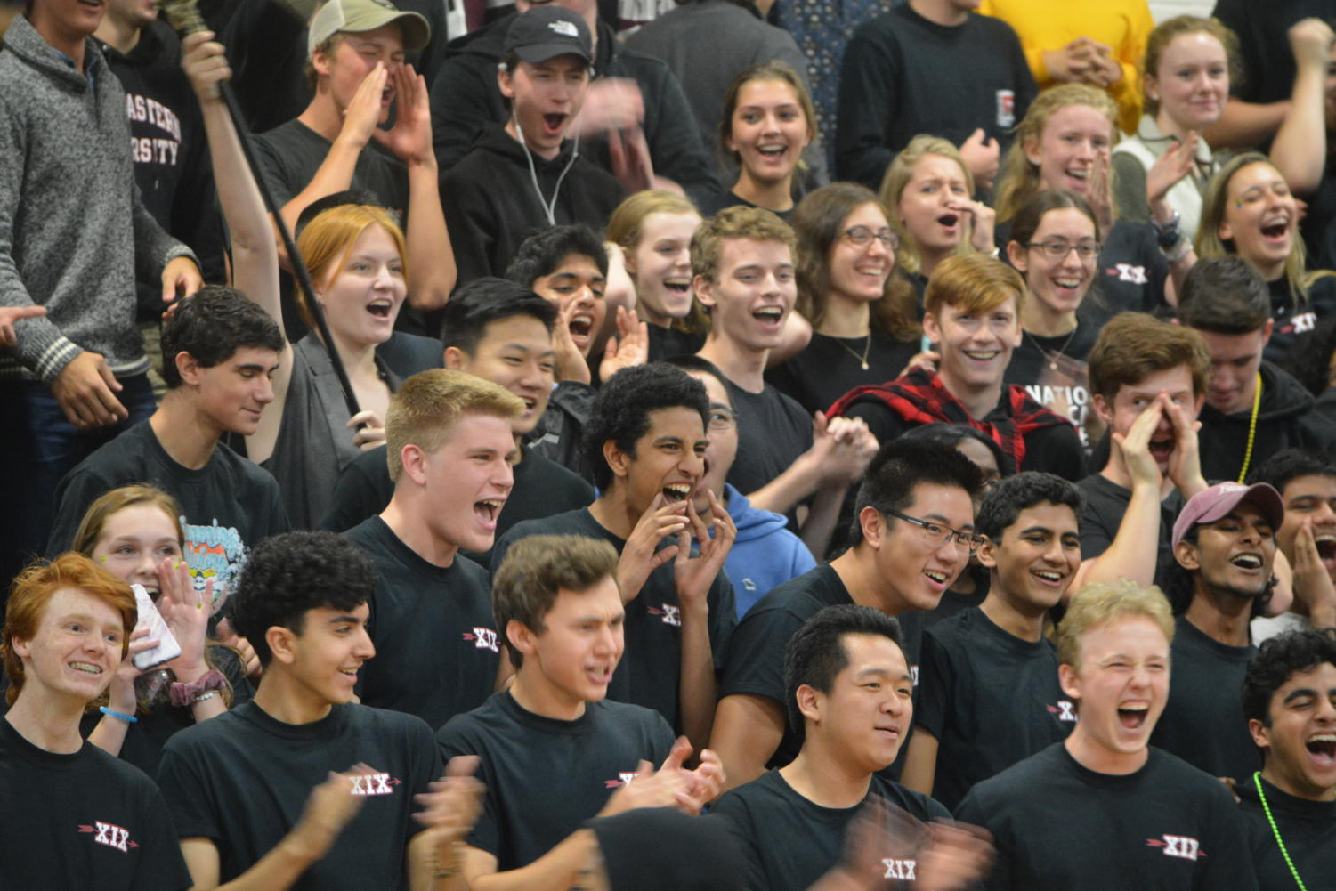 School Spirit-- Seniors cheer at the pep rally. The event took place on September 28.