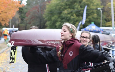 Crew team races at Head of the Charles Regatta