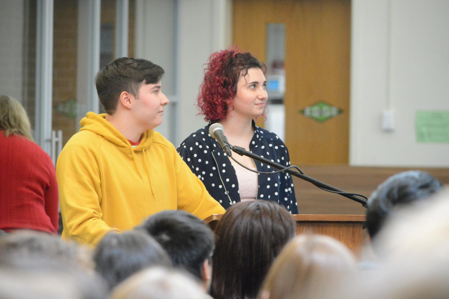 Speaking out-- Juniors Ricky Davis and Emily Byrne give a presentation about gender and sexuality. Social Justice Week took place from February 11 to February 15 and offered a multitude of presentations.