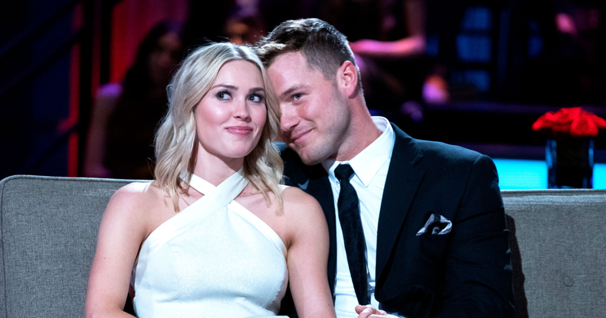 Love is in the air-- Colton and Cassie look loved up during their appearance on the Bachelor finale. The finale took place on March 12 and 13.