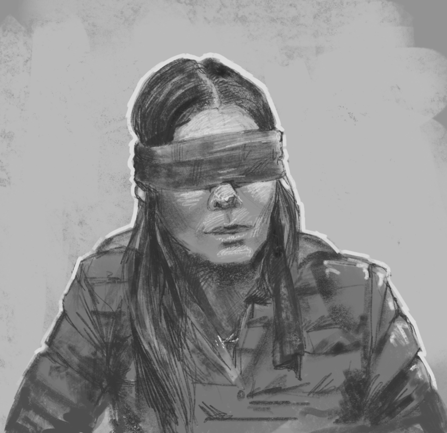 Blindfolded+Bullock%E2%80%94+Malorie%2C+player+by+Sandra+Bullock%2C+stands+blindfolded%2C+avoiding+the+monsters+lurking+the+Earth.+Birdbox+is+available+on+Netflix.+%0A