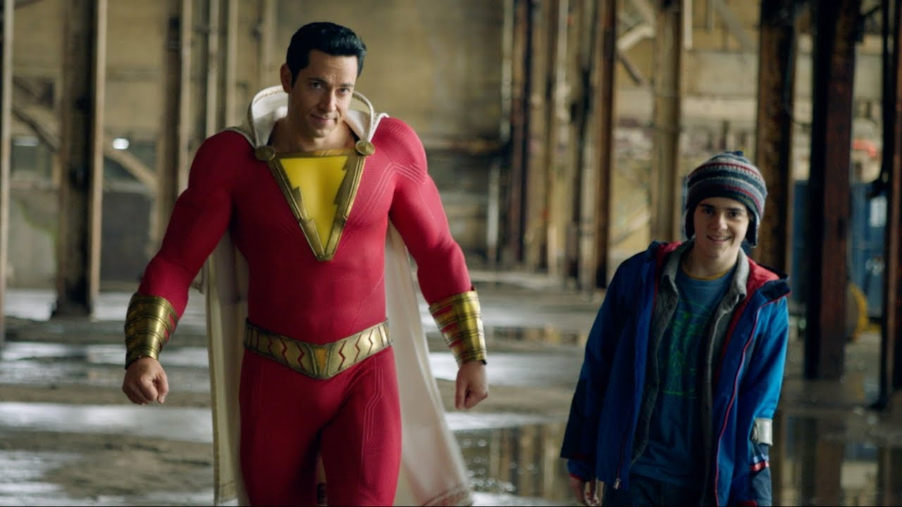 Dynamic duo-- Billy Baxton aka Shazam (played by Zachary Levi) (left) and buddy Freddy Freeman (played by Jack Dylan Grazer) (right) practice using his superhero techniques. Shazam was released in theaters on April 5 and has received positive reviews.