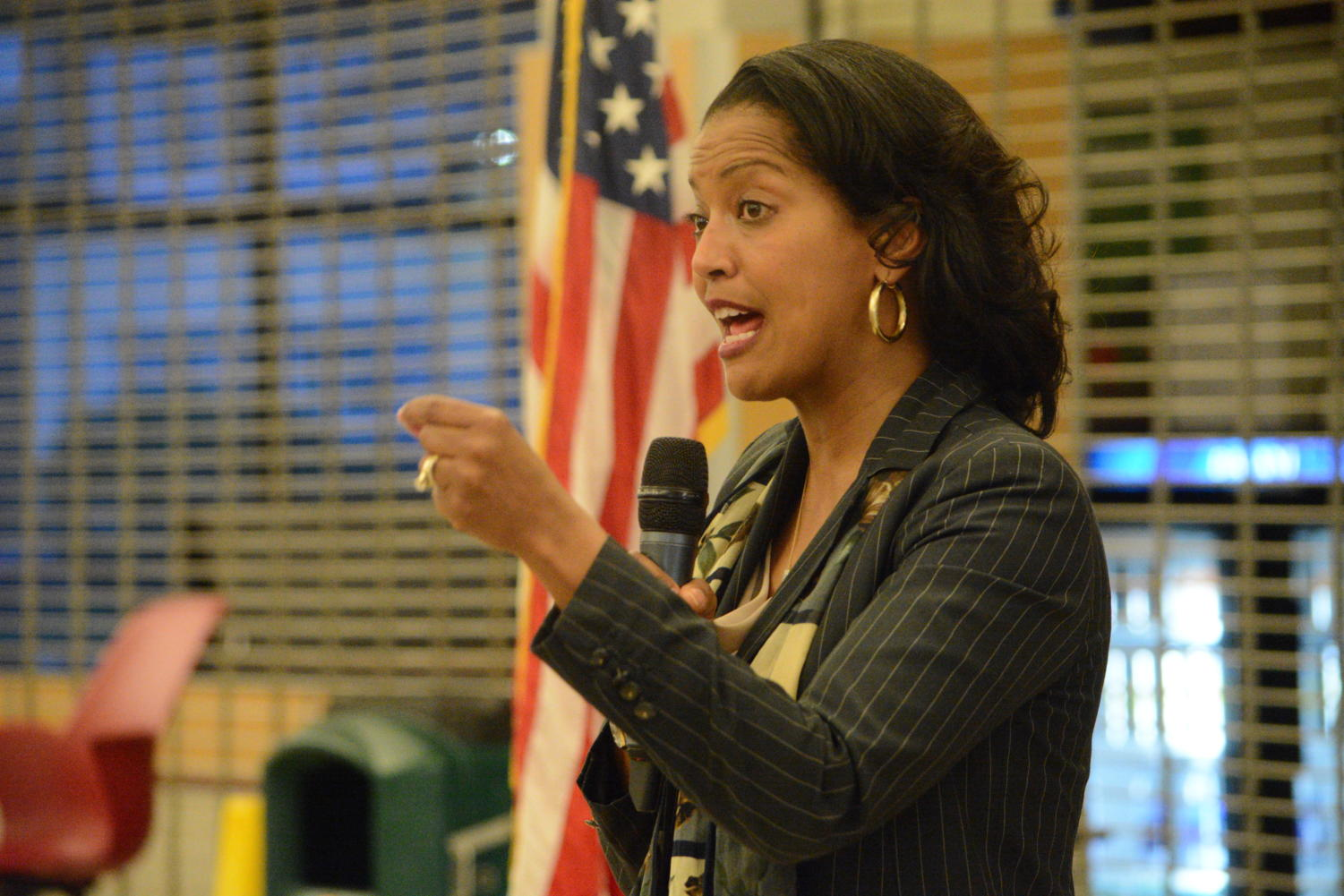 Red, white, and blue-- Congresswoman Jahana Hayes speaks to students, community, members, faculty, and staff at her recent visit to the high school. Hayes spoke on many topics and answered audience member questions.