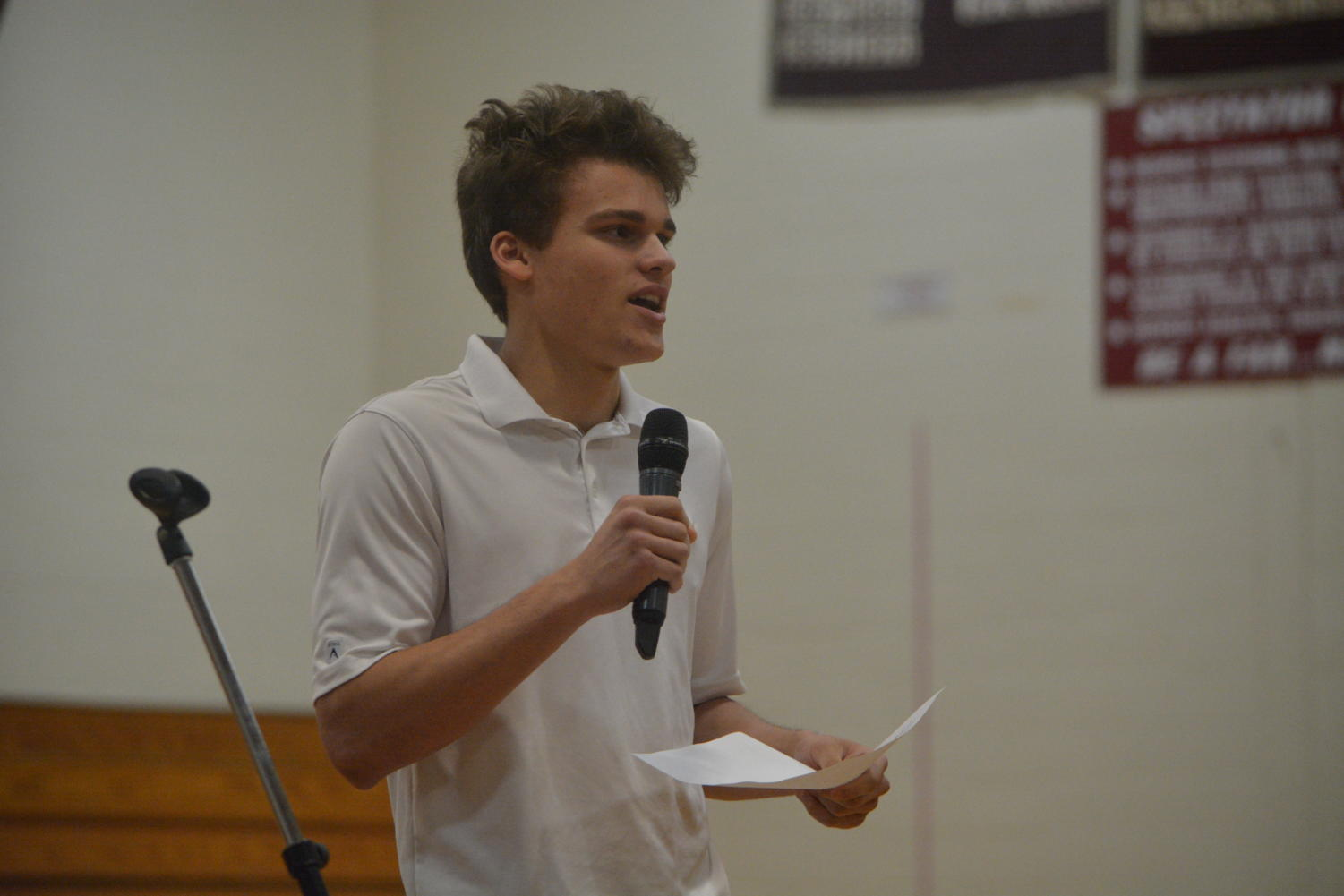 Go out and vote-- Sophomore Jacob Smith gives his election speech on May 24 to the Class of 2021. Smith was elected Class Secretary for the second consecutive year.