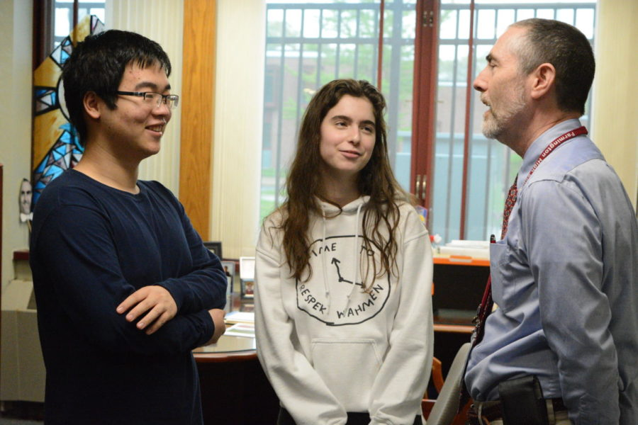 High fliers-- Seniors Pei Chao Zhuo and Ava Ferrigno speak with Principal Bill Silva in his office. On February 22, Silva informed the two students that they are respectively the valedictorian and salutatorian of the Class of 2019.