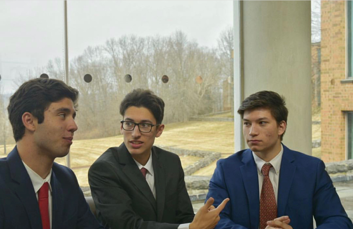 Preparing for the future-- Seniors Max Russo, Nico Machado, and Josh Ngeow participate in a discussion at the recent International Business Machines conference. They are all part of the Entrepreneurship Commerce capstone at the high school.