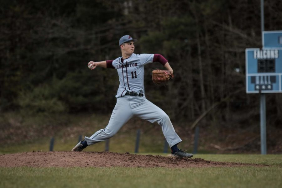 On+the+hill+--+Junior+Tyler+Cortland+fires+a+fastball+in+his+game+against+Avon+on+May+1.+Cortland+pitched+six+and+two+thirds+innings+and+struck+five%2C+propelling+the%0AIndians+to+a+6-1+victory.