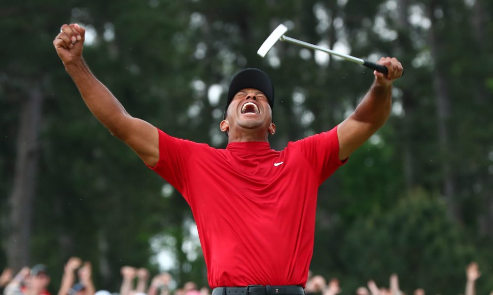 The joy of triumph-- Tiger Woods throws his hands up for joy as he realizes he just won the biggest golf tournament in the world. This was Tiger's first Masters Tournament win since 2005.