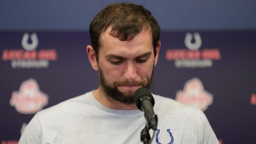 Tough+Decision+--+Indianapolis+Colts%E2%80%99+quarterback+Andrew+Luck+announces+his+retirement+to+the+media+on+August+25th.+Luck%2C+age+29%2C+only+played+seven+seasons+in+the+NFL.+