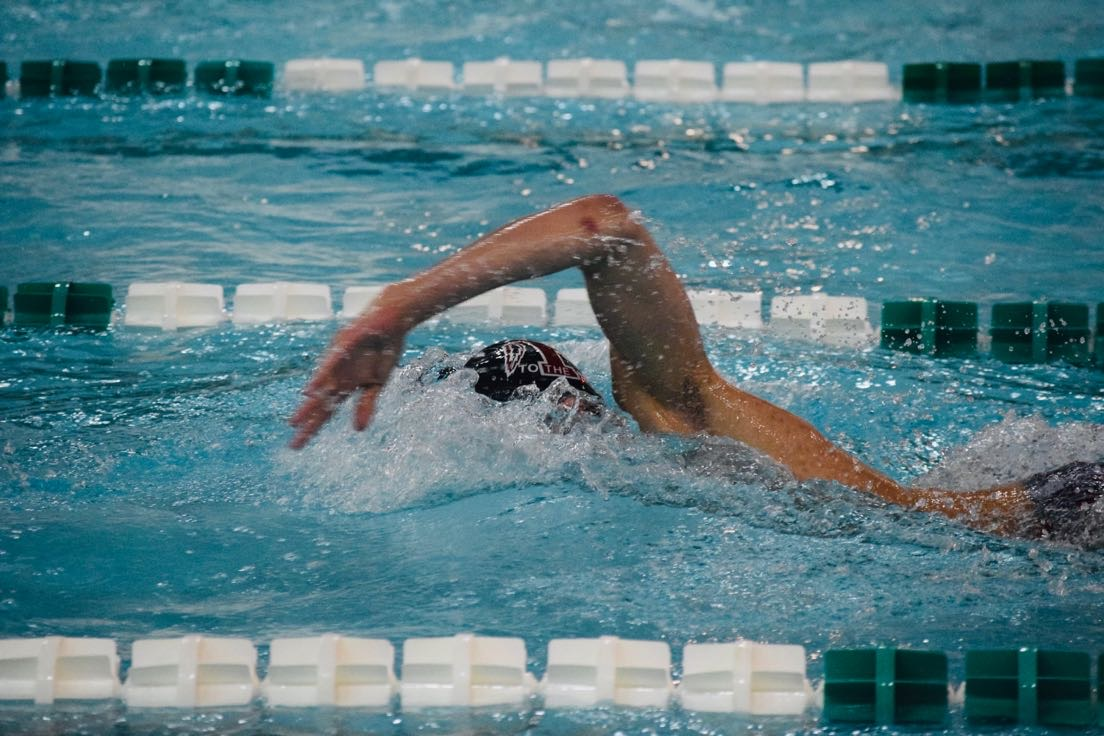 Stroke to the finish-- Junior Joe Harb practices his freestyle stroke upon the approach of the upcoming season. Harb looks to set new record for swim along with his teammates this season