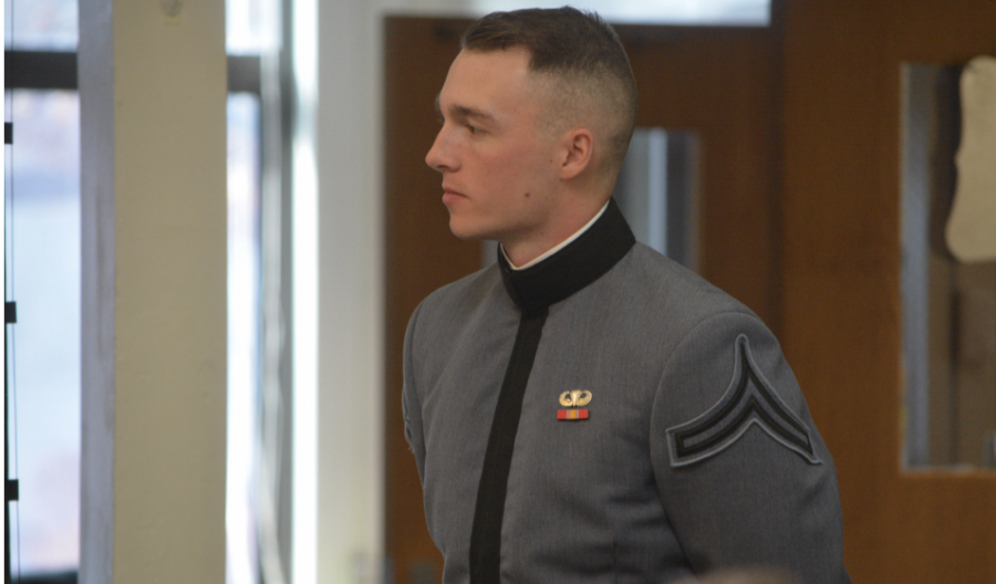 Sir, yes, sir-- Class of 2019 alumnus Cadet Ryan Witter speaks in front of an audience about his experiences in the military. Witter visited the high school on Veterans Day on November 11.