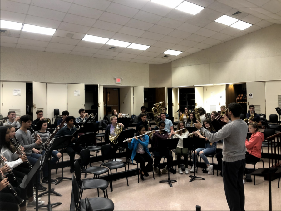 Practice, practice, practice -- Band teacher Jeffrey Ventres prepares students for the upcoming auditions. Auditions will be held tomorrow, November 2, at Avon High School.