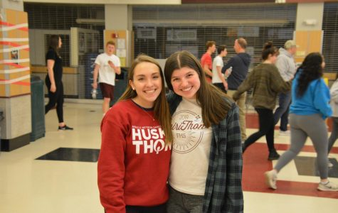 Photo Op -- Senior Sarah Hennig (right) and 2018 alumna Ally Dolmanisth (left) pose for a picture during the 2020 Spirithon event. Members of the club celebrated their fundraising efforts with a celebration on Feb. 8 in the high schools cafe and gyms.