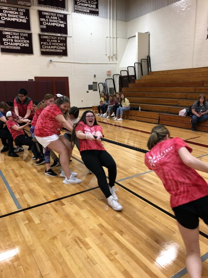 Friendly Competition: Attendees of SpiriThon participate in the annual tug of war competition in the new gym. Members of SpiriThon raised funds throughout the school year in order to support Connecticut Children's Medical Center (CCMC).