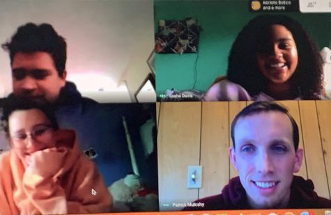 Virtual Meet-Up -- American Studies teachers Patrick Mulcahy (bottom right) and MJ Martinez meet with their students juniors Max Alvarez (top left), Sasha Davis (top right) and Olivia Espinosa (bottom left) for office hours through Google Meet. Farmington began Connected Learning practices on March 23 in response to the school closure. The school will be closed until at least April 20.