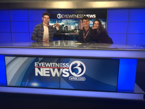 On a deadline-- (left to right) Junior Ricky Podgorski and seniors Matthew Arena and Hanny Wolkoff visit the Channel 3 news team in Rocky Hill, Connecticut, last year on a field trip. At the time of the trip, Wolkoff served as Managing Editor on staff, a position Podgorski took over this year.