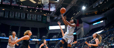 Best in Business -- The UConn women compete in a game against Trevecca college in 2019. The Huskies are currently 14-1 and ranked first in the conference as they returned to the Big East this season.