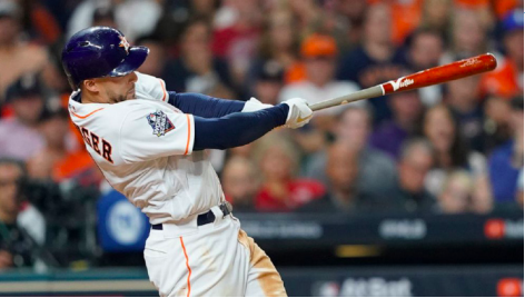 The Big Bucks -- George Springer hits a pitch during the 2019 World Series. On January 19, the three-time Allstar, two-time Silver Slugger Award winner and 2017 World Series MVP, signed a contract with the Toronto Blue Jays for $150 million dollars over six years.