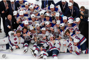 Bring Home the Gold-- USA celebrates their 2-0 upset over Canada in the 2020 IIHF World Juniors Championship. The victory marks the fifth IIHF World Junior Championship for the American team.