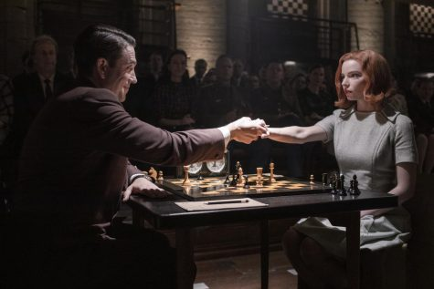 Friendly match-- Beth Harmon (Anya Taylor-Joy) participates in a chess match against Vasily Borgov (played by Marcin Dorociński) in the The Queen's Gambit. The show is a highly rated addition to Netflix.