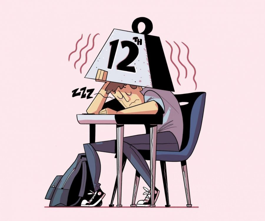 """Doomed by the bell-- Many seniors across the world experience the phenomena known as """"senioritis,"""" making the student feel unmotivat- ed to put in their best effort in the final year of high school. During the pandemic, senioritis has become an increasingly noticeable problem amonst young adults."""